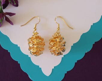 Gold Pinecone Earrings Small, Real Pinecones, Gold Pinecones, Pinecones, Gold Redwood Pinecone Earrings, PC57