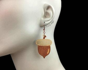 READY MADE SALE - Wood Acorn Earrings - Wooden Laser Cut Earrings (C.A.B. Fayre Original Design)