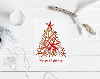 Australian Christmas Card - red starfish christmas tree - A6 watercolour print