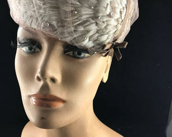 Vintage Ladies' Taupe Feathers and Tulle Hat