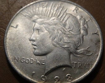 1923 Peace Silver Dollar, Coin, Numerology, Jewelry Jeweler Numismatic Coinage Retro Americana Coinage 1920's Money Liberty Lot #34