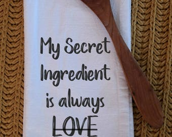 Tea Towel - Flour Sack Towel - Bacon - Kitchen Towel - Dish Towel - Cotton Tea Towel - Secret Ingredient Is Always Bacon