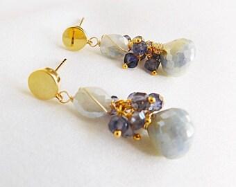 Blue Silverite - Statement Earrings - Gold Earrings - Blue Earrings - Brides Jewelry - Something Blue