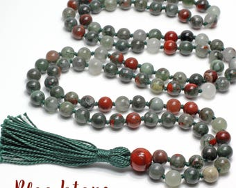 Bloodstone Necklace, Hand Knotted, 108 Bead Mala