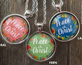 2018 mutual theme (Peace in Christ) Glass Pendant, Necklaces, new beginnings idea, young women, mormon, yw in excellence., ywie d&c 19:23