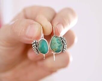 Succulent earrings. Sterling silver Succulent earrings with natural Turquoise. Turquoise earrings, succulent dangles, Kingman turquoise.