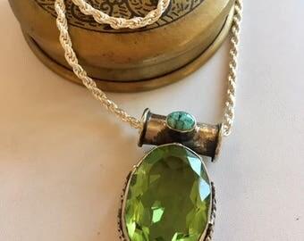 Statement Necklace With Large Quartz Pendant