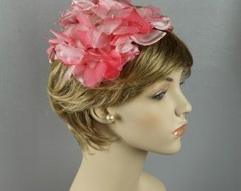Vintage 1960s Hat Pink Silk Flowered Half Clip Style