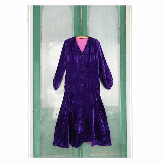 Vintage Long-Sleeve Dress -M- Purple Velvet