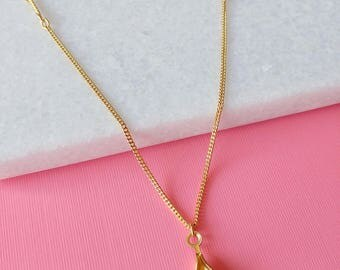 Oyster Gold Charm Necklace - Vintage Gold Charm Necklace -  (SD1302)
