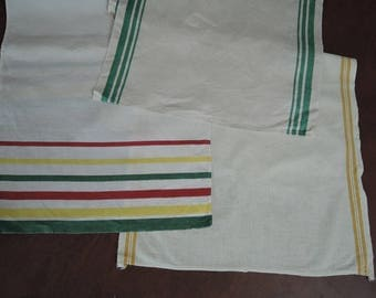 3 Vintage Striped Dish Towels, 1940s Linen Red Yellow & Green