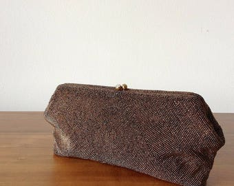 Bronze Seed Bead Clutch | 1950s-60s