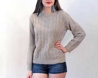 Carlotta, 80s Tan Sweater M, Tan Wool Pullover, Oatmeal Sweater, Cable Knit Pullover, Soft Wool Sweater, Classic Beige Crewneck Sweater