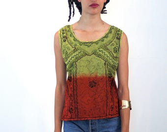 Ione, 90s Boho Top M, Ombre Top, Green & Red Dip Dyed Top, India Top, Sleeveless Rayon Top, Embroidered Hippie Top, Bohemian Summer Tank Top