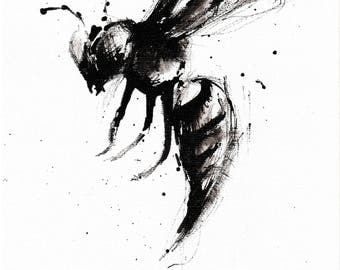 Giclee print on matte canvas -6x8in- 8x12in - 16x12in A5 A4 A3 - rolled canvas  - abstract wasp