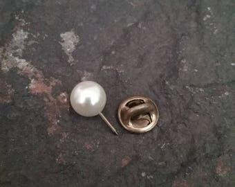 Ballou Pearl Pin, Pearl Pin, Mens Pearl Pin, Tie Tack, Lapel Pin, Vintage Lapel Pin, Vintage Tack Pin, Ballou Jewelry, Ballou Lapel  Pin