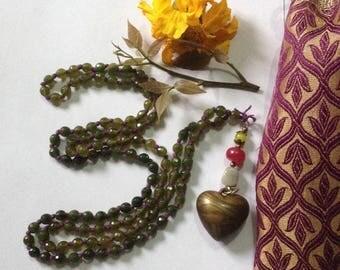 Deep Heart Aventurine 108 bead Yogic Mala
