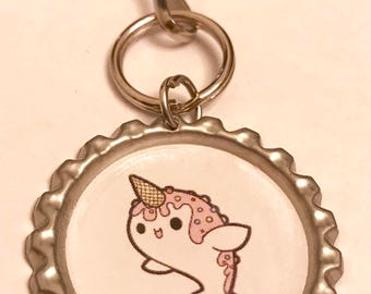 Ice cream narwhal keychain or zipper pull