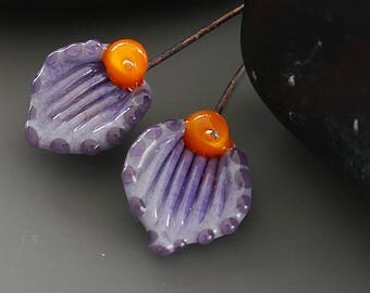 Handmade lampwork beads  |  Headpins |  earring pair   | copper wire with glass beads  |   artisan glass   |   made by Silke Buechler