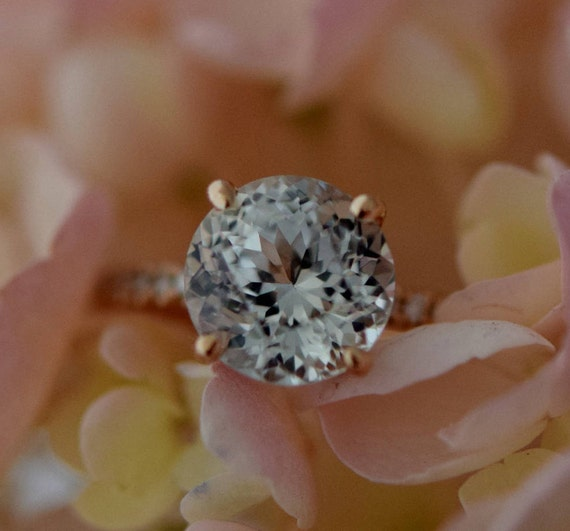 Solitaire ring. White Sapphire Engagement ring. Rose Gold Engagement Ring. Blake ring. Diamond Engagement Ring by Eidelprecious