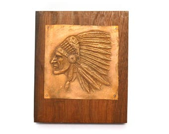 Vintage Embossed Copper Native American Chief Portrait Mounted on Wood