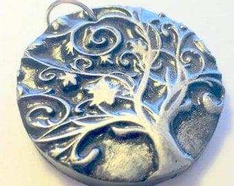 Tree of Life Pendant Silver and Black Swirl Yggdrasil Handmade Polymer Clay Pendant