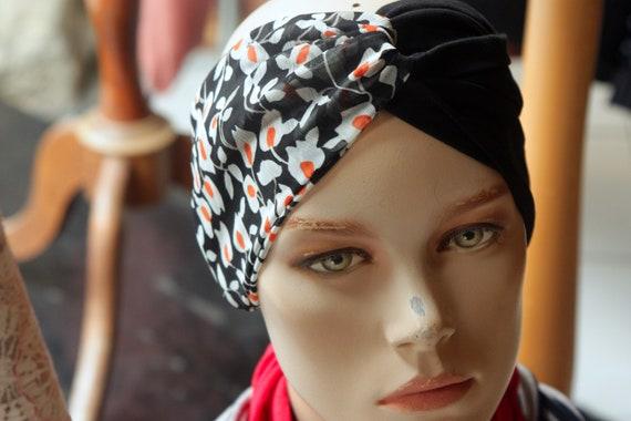 Headband-Turban style Retro bicolor flowers Black Jersey and viscose