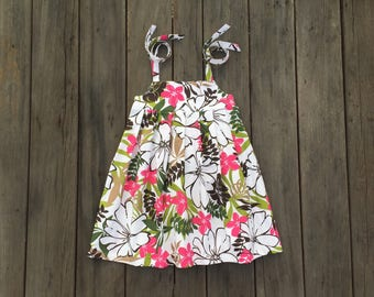 Pink and Green Floral Tie Top Girls Dress
