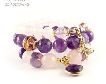 Trio - amethyst - pink quartz - set of three bracelets
