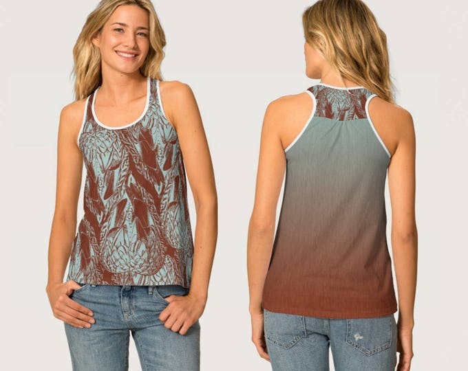 Women's Racer Back Tank Top Duck Feather Tile Graphic Print in Dusty Teal and Red Brown Colours