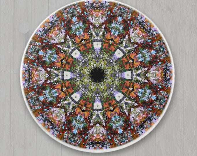 Round White Porcelain Knob with Modern Boho Hippie Kaledoscope Mandala Centre Pattern