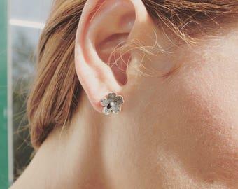 Dainty earrings Flower stud earrings, Cherry blossom sterling silver oxidized earrings,