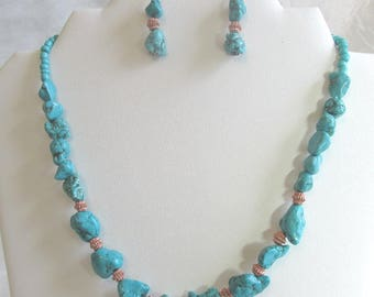 Turquoise and copper chunky bead jewelry set