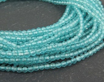 """Ocean Apatite Faceted Rondelles 2mm AAA ~ 13"""" Strand (CG9785)"""
