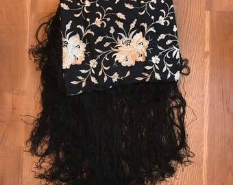 Black Embroidered Scarf- Vintage Boho Fringe Tablecloth- Large Shawl- Gothic Shawl- Bohemian Clothing- Fringe Wrap- Gift for Friend