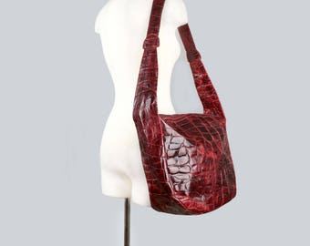 1980's FURLA Deep Red Leather Big Messenger Cross body Bag