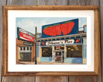 "Shreveport ""Strawn's Pies"" Framed 22x18"", Matted Art Print Signed and Numbered"
