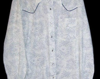 Vintage Mens Shirt Western 70s LARRY MAHAN Blue White Wide Wing Cowboy Pearl Snap  L