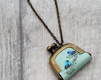 Bird Coin Purse Necklace, Birds Necklace, Woodland Jewelry
