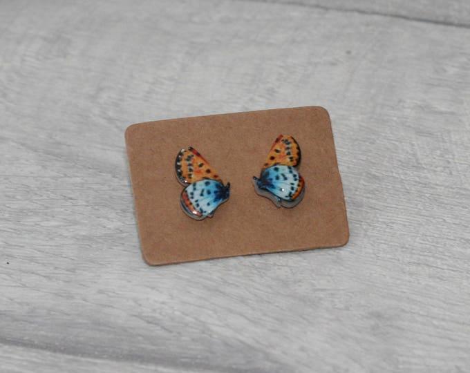 Butterfly Earrings, Teeny Tiny Earrings,Orange and Blue Butterfly Jewelry, Cute Earrings