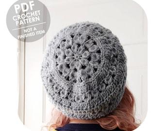 crochet pattern - slouchy dahlia flower hat - boho bohemian - slouchy crochet hat - crochet slouchy hat pattern - floral flowers