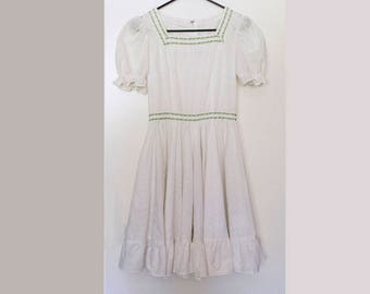 COURTNEY // Vintage 70s Prairie Dress Women's Small Victorian Kinderwhore DDLG White Lolita Dress Boho Babydoll 1970s Ruffle Summer