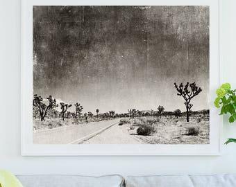 Joshua Tree framed print, black and white photography, California home decor, modern print, landscape photo, Palm Springs, loft wall art
