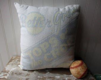 Vintage seed sack pillow Cotton feedsack grainsack Better Grow Seeds Cream faded blue yellow graphics Farmhouse Cottage Chic