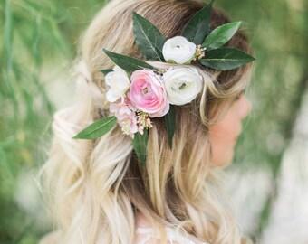 bridal headpiece, bridal hair clip, floral headpiece, pink flower hair accessories, bridal hair piece, pink flower hair clip, wedding hair