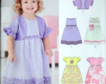 New look 6254 Sewing Pattern, Toddler/Girls Empire Waist Dress And Shrug, Size 1/2-1-2-3-4, Uncut FF