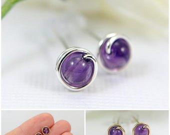 5mm tiny amethyst post earrings 925 sterling silver or 14k gold filled wire wrapped earrings purple mini earrings February birthstone small