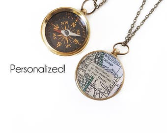 Large Custom Map Compass Necklace with Personalized Quote, Working Compass, Graduation Gift, Brass, Silver, Rose Gold, Moving, Inspirational