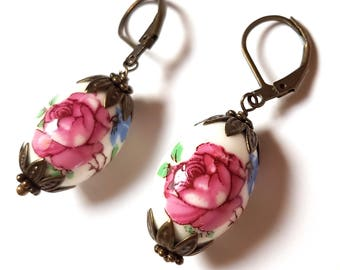 Floral Porcelain Bead Earrings-Simple Chic-Everyday Lever Backs-Flower Jewelry-Fashion Jewellery-Gifts for Her-Rose Bead-Pretty Accessory