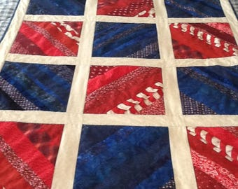 Patriotic red white and blue Scrappy Strip Quilt
